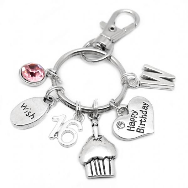 16th Happy Birthday Cake Keyring Personalised Gift For 16 Year Old